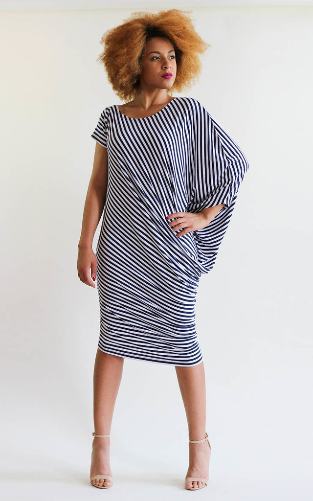 Emma Stripe Asymmetric Dress by LagenLuxe