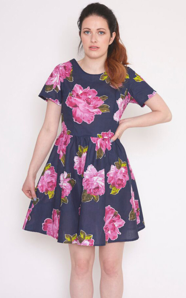 Belle Dress - large floral -navy & pink by Mollie Brown