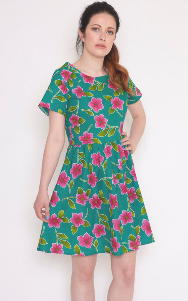 Belle Dress - green & pink flower by Mollie Brown