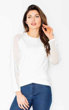 Ecru top with sheer sleeves by FIGL