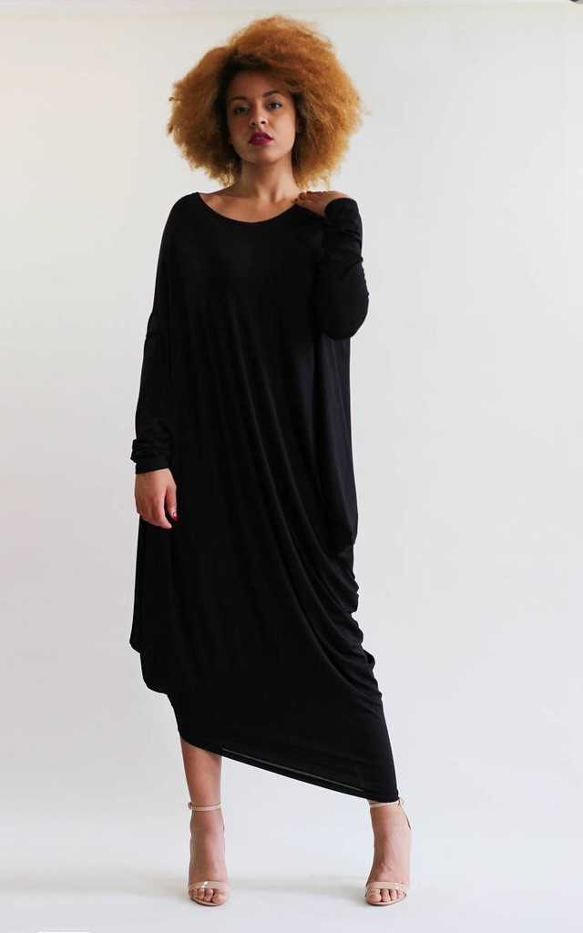Gaya Black Asymmetric Dress by LagenLuxe