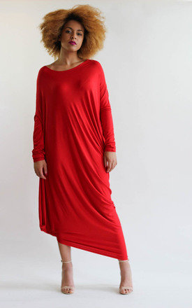 Gaya Red Asymmetric Dress by LagenLuxe