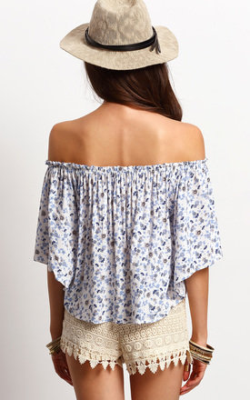 Off The Shoulder Button Down Top by Oeuvre