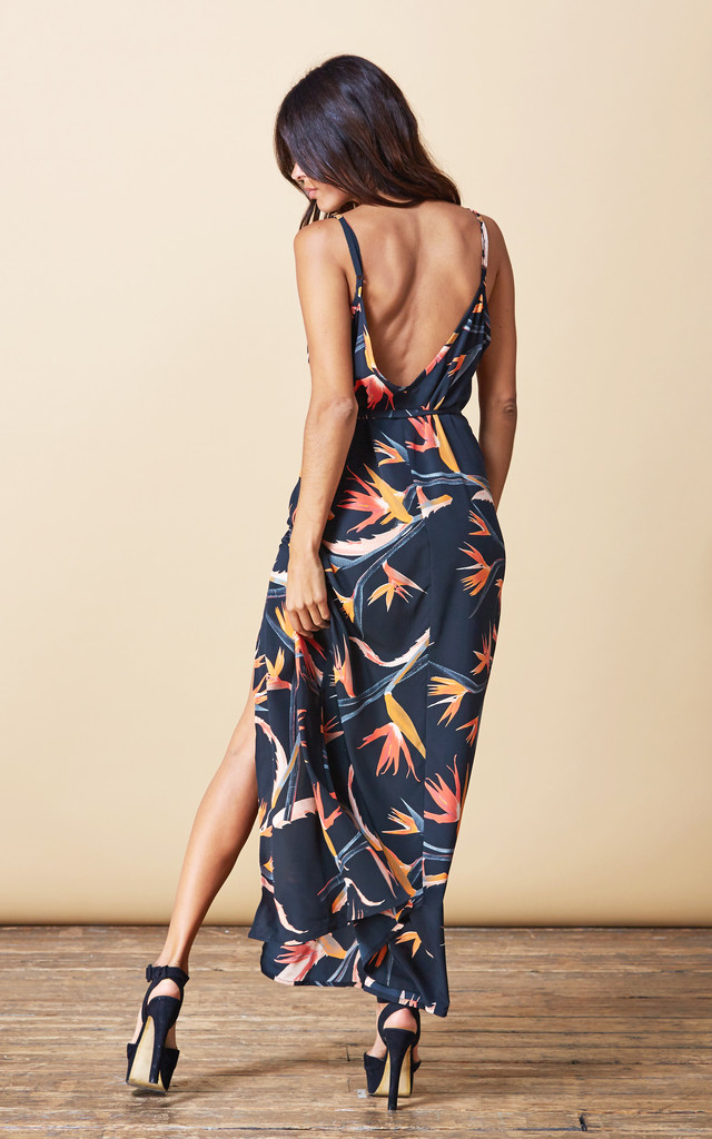 Split Leg Dress in Paradise Birds by Dancing Leopard
