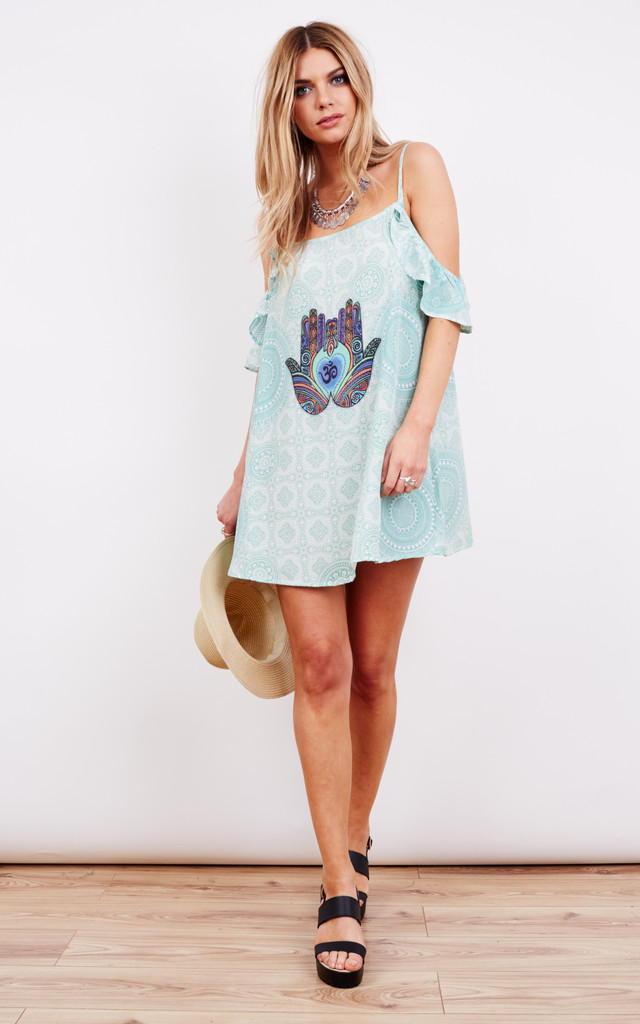 Hamsa and Om Cold Shoulder Mini Beach Dress by Kitten Beachwear