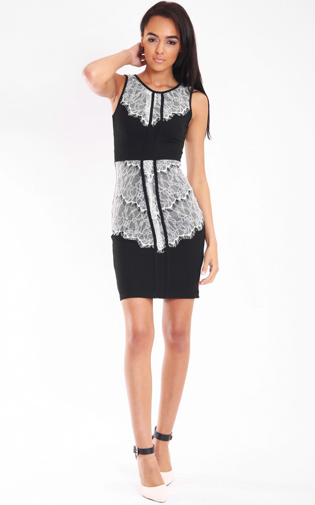 Contrast Lace Panel Bodycon Dress by Jezzelle