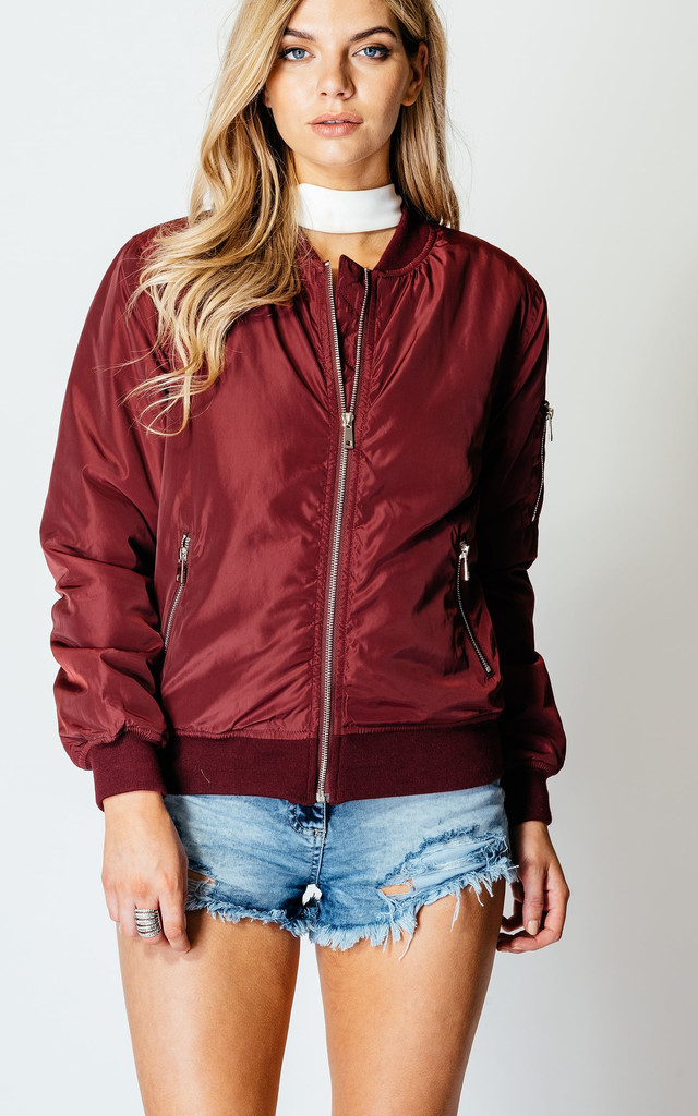 Woven Zip Front Bomber Jacket by Jezzelle