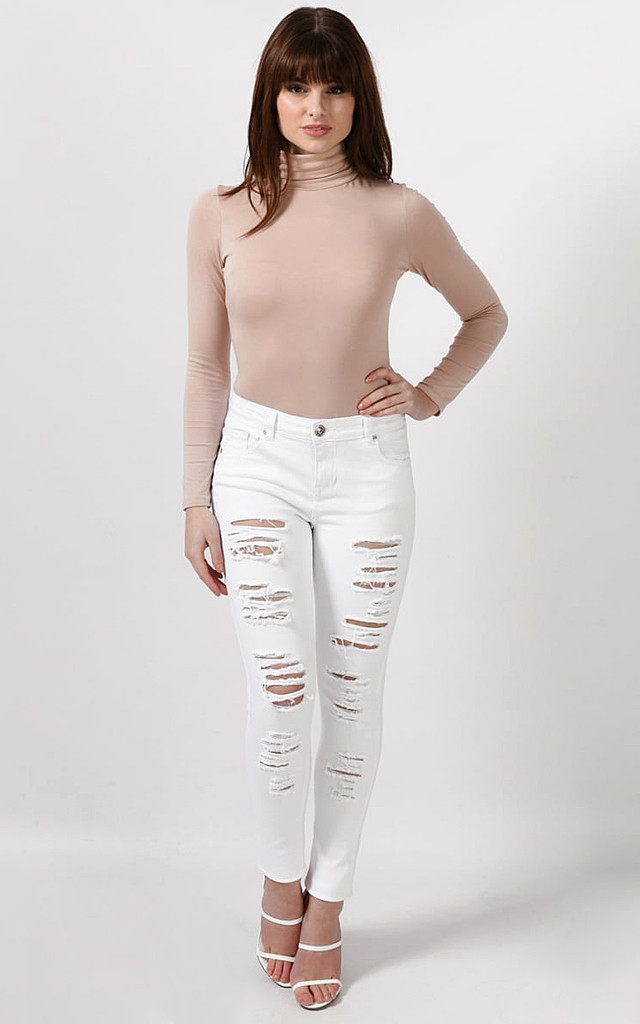 Extreme Ripped White Skinny Jeans by Jezzelle
