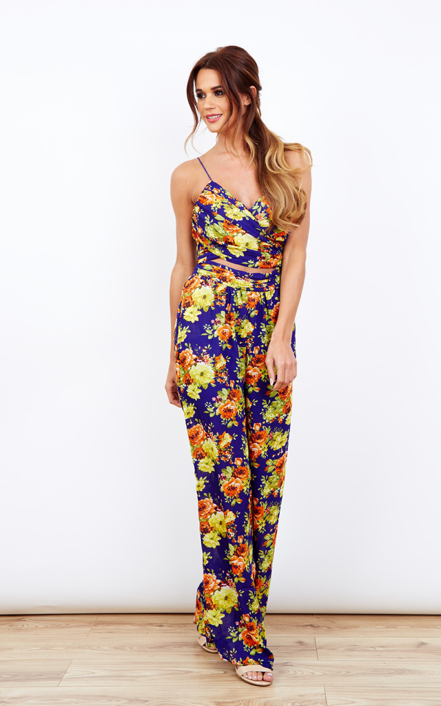 Navy Front Cut Out Detailed Print Jumpsuit by Bella and Blue