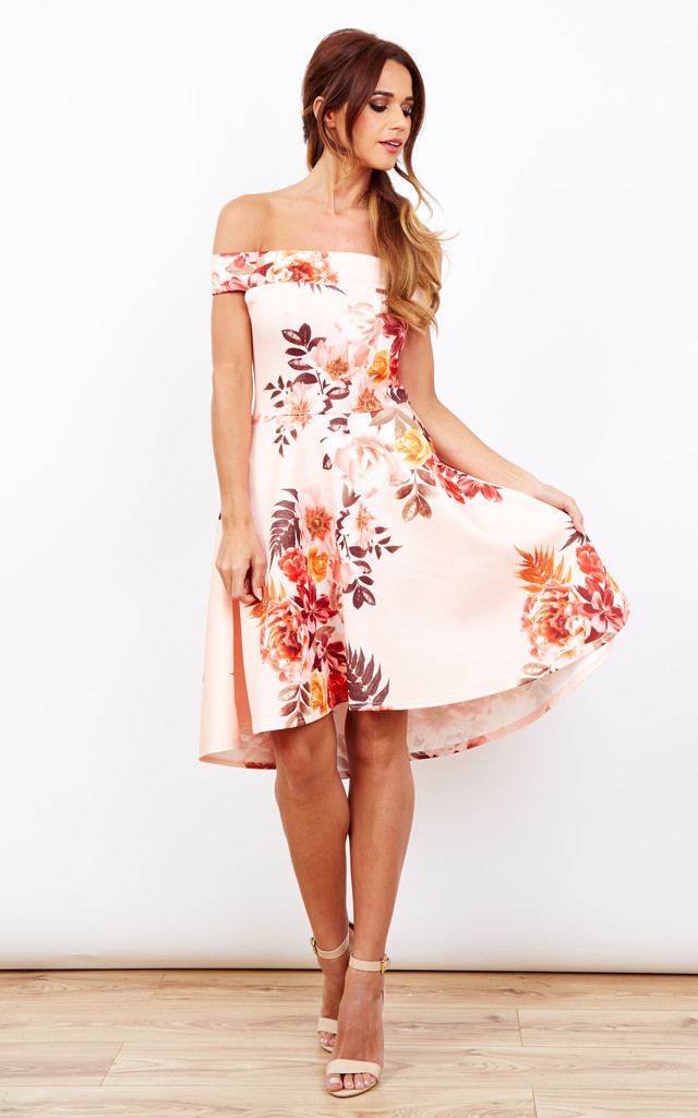 c762d96bdf ... Peach Floral Print Off The Shoulder Skater Dress by Lilah Rose ...
