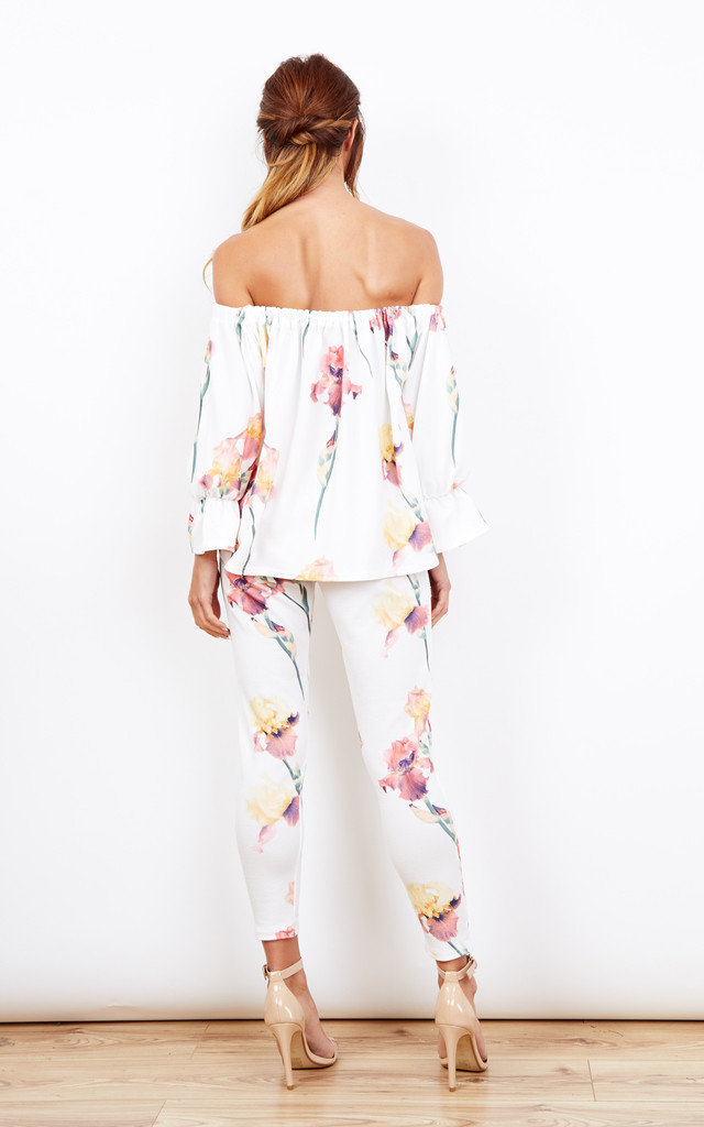 White Floral Print Two Piece Off The Shoulder Top With Leggings by Lilah Rose