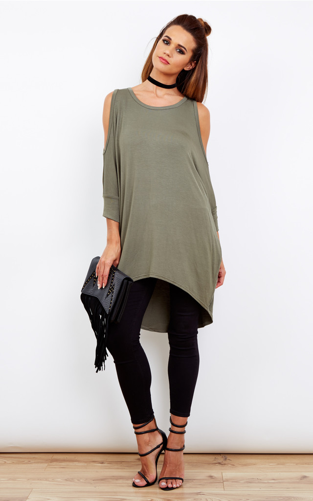 KHAKI CUT OUT SHOULDER OVERSIZED DIPPED HEM TOP by Bella and Blue