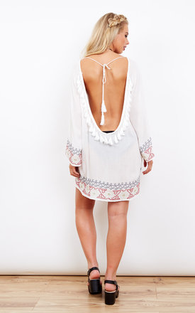 Ivory Low Tassel Back Dipped Hem Beach Top by Lilah Rose