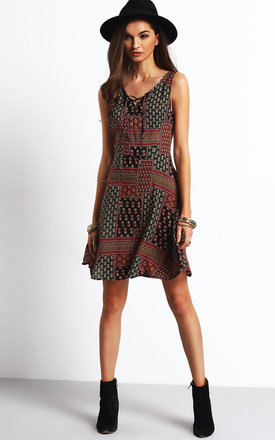 Lace Up Front Shift Dress by Oeuvre