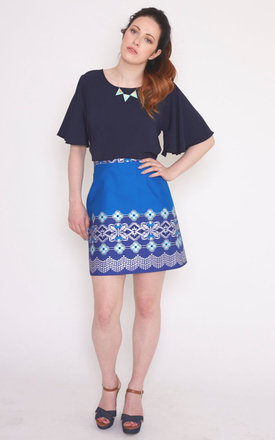 Chloe Skirt In Blue African Print by Mollie Brown