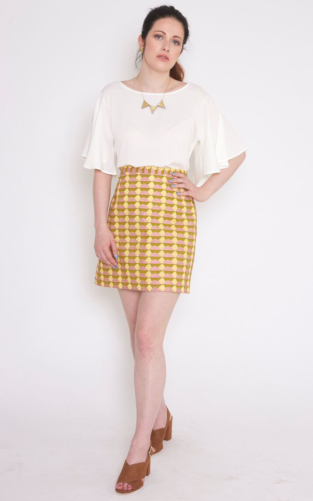 Chloe Skirt In Yellow African Print by Mollie Brown
