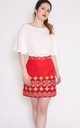 Chloe Skirt In Red African Print by Mollie Brown