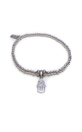 Sterling Silver Ball & Fluted Rondo Stacking Bracelet with Mini Hamsa by Jacy & Jools