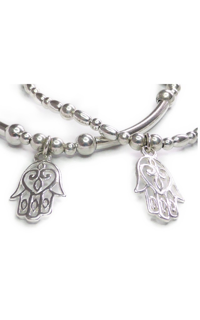 Sterling Silver Noodle and Ball Stacking Bracelet with Open Hamsa by Jacy & Jools