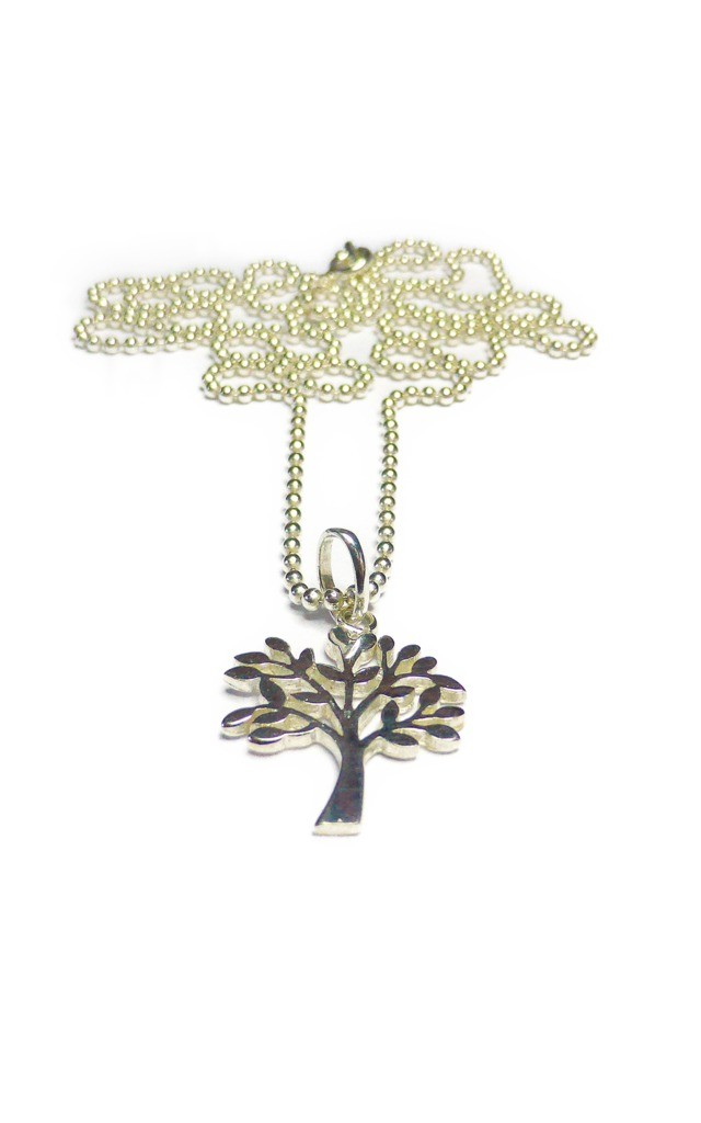 Sterling Silver Ball Chain Necklace with Tree of Life by Jacy & Jools