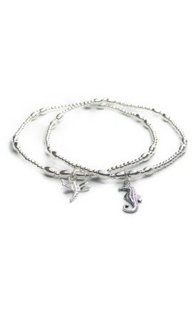 Skinny Sterling Silver Ball & Rice Bracelet with Seahorse by Jacy & Jools
