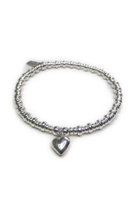 Sterling Silver Doughnut Bracelet with Puffed Heart by Jacy & Jools