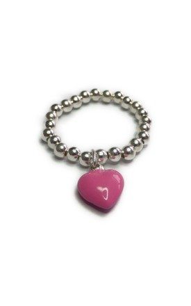Sterling Silver Ring with Pink Enamel Heart by Jacy & Jools