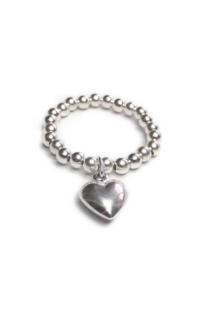 Sterling Silver Ring with Heart Charm by Jacy & Jools