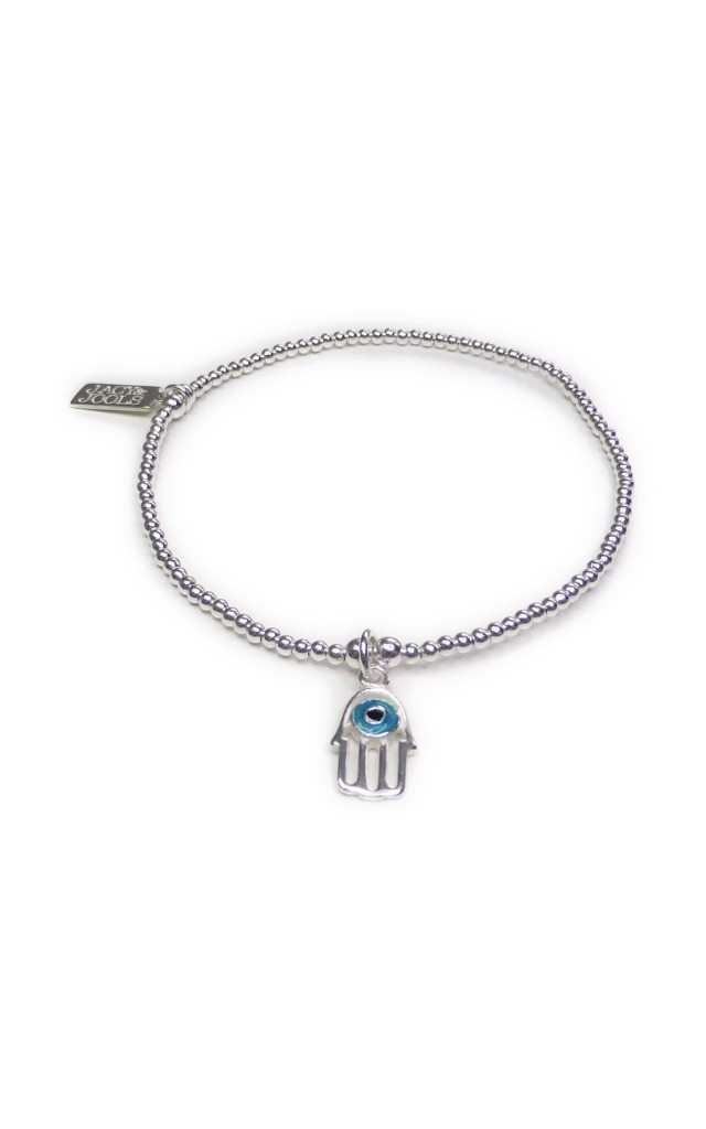Skinny Sterling Silver Bracelet with Blue Hamsa by Jacy & Jools