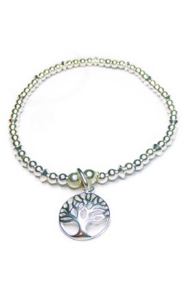 Sterling Silver Mixed Ball & Rombo Bracelet with Tree of Life by Jacy & Jools