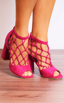 Fuchsia Pink Caged Peep Toes Strappy Sandals High Heels by Shoe Closet