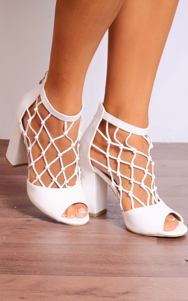 White Pu Caged Peep Toes Strappy Sandals High Heels by Shoe Closet