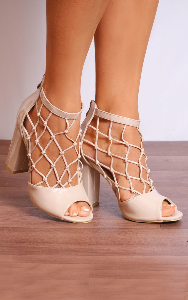 Nude Patent Caged Peep Toes Strappy Sandals High Heels by Shoe Closet