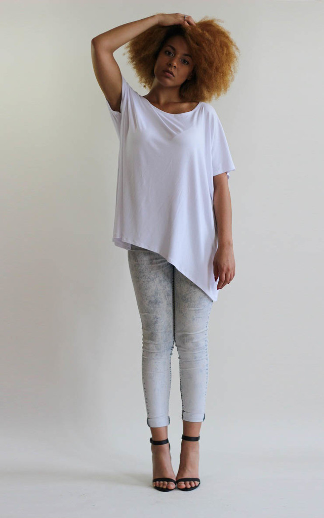 Maddy White Oversized Tee Shirt by LagenLuxe