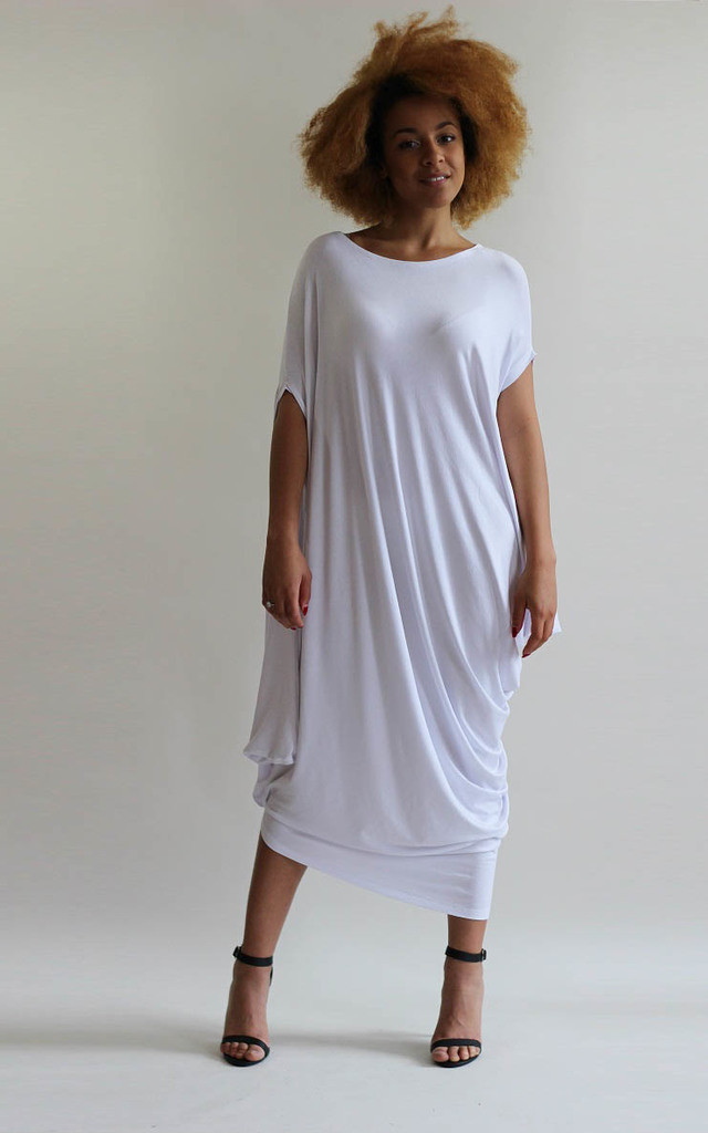Gina White Asymmetric Tunic Dress by LagenLuxe
