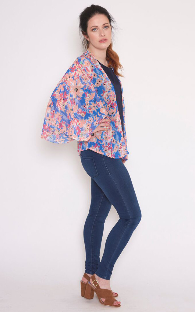 Kimono in Blue & Pink Chiffon by Mollie Brown