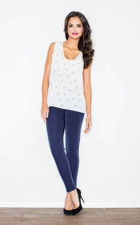 Ecru print bird pattern sleeveless top by FIGL