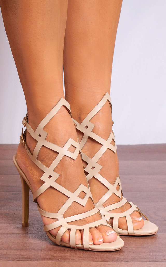 Nude Ankle Straps Strappy Sandals Peep Toes High Heels by Shoe Closet