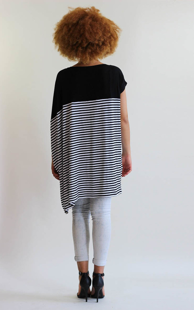 Georgie Stripe Asymmetric Tee Dress by LagenLuxe