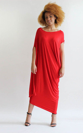 Gina Red Asymmetric Tunic Dress by LagenLuxe