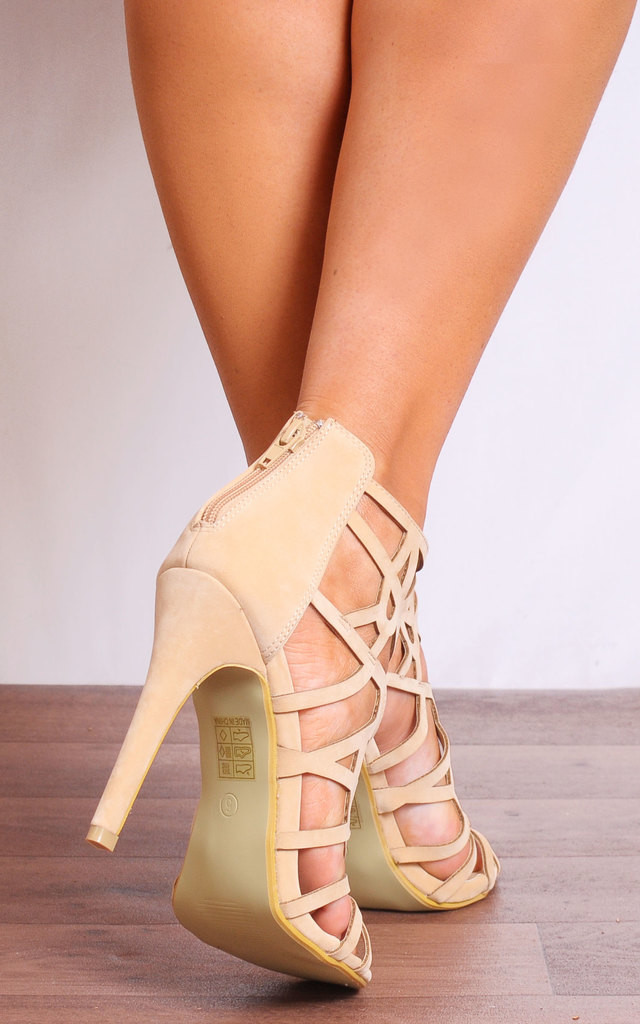 Nude High Heels with Laser Cut Design by Shoe Closet