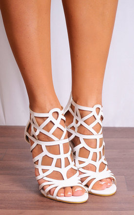 White Laser Cut Ankle Strap Stilettos Strappy Sandals High Heels by Shoe Closet Product photo