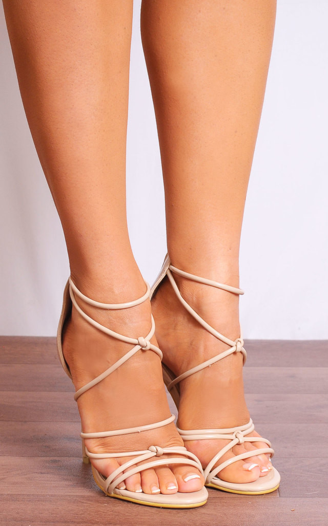 272c8f3c3bb06 Nude Patent Barely There Curve Strappy Sandals Stilettos High Heels by Shoe  Closet