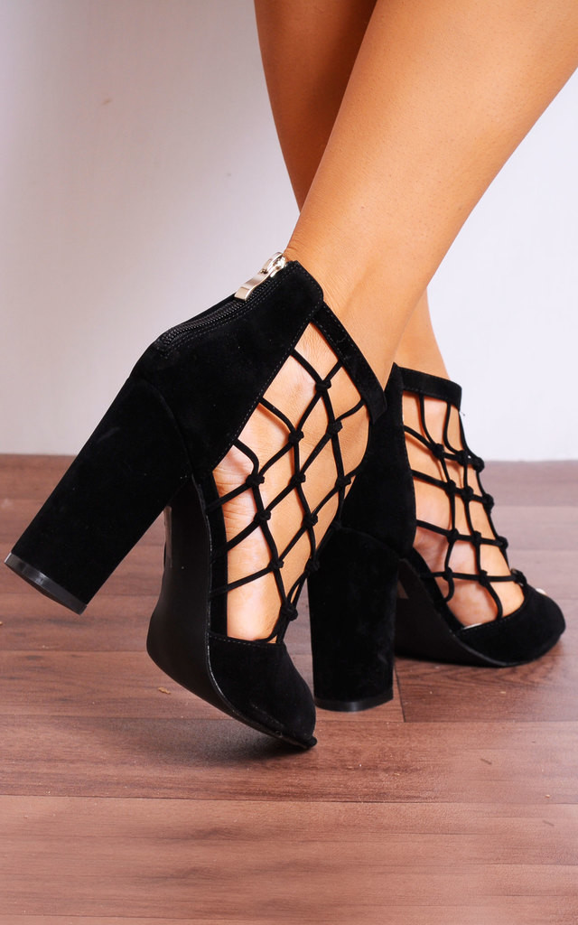 Black Caged Peep Toes Strappy Sandals High Heels by Shoe Closet