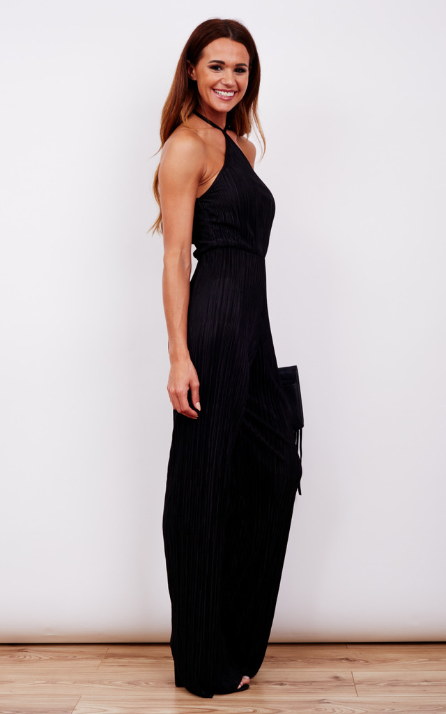 Pleated Halterneck Wide Leg Jumpsuit by John Zack