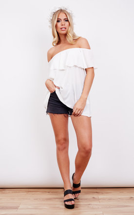 Off The Shoulder Frill Ivory Top by John Zack
