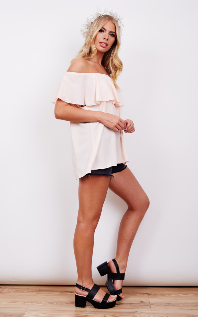 Off The Shoulder Frill Blush Top by John Zack