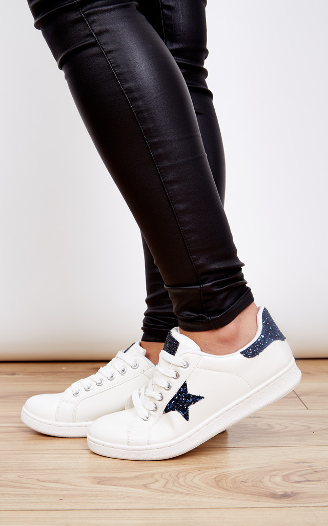 White lace up trainer with blue glitter detail by Lilah Rose