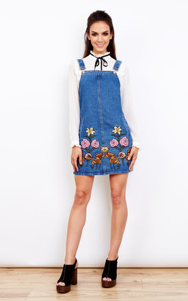 Denim Embroidered dungaree pinafore dress by Glamorous