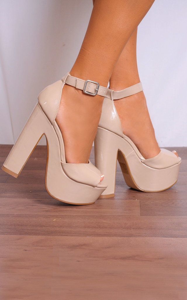 Nude Patent Peep Toe Platform Sandals with Ankle Straps by Shoe Closet